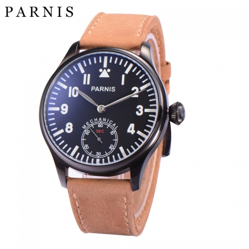 44mm Parnis Men Watch 6498 Hand Winding Movement Luminous Number Handsets Men's Wristwatch PVD Case Mechanical Watches