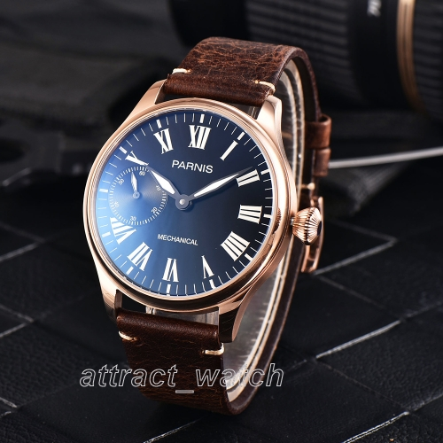 44mm Hand Winding Mechanical Mens Aviator Wristwatch Roman Numbers Leather Strap
