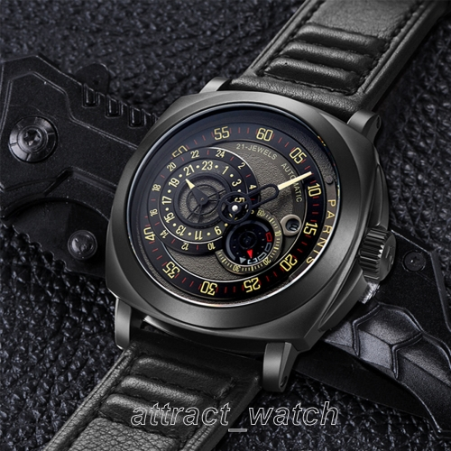44mm Parnis Miyota Automatic Men Cool Watch Sapphire Small Second 24-Hours Date Indicator